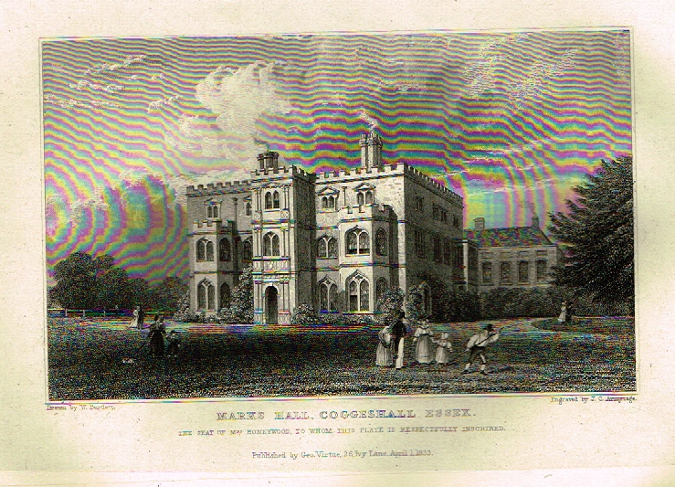 "Bartlett's Britain - ""MARKS HALL, COGGESHALL ESSEX"" - Hand-Colored Steel Engraving - 1832"