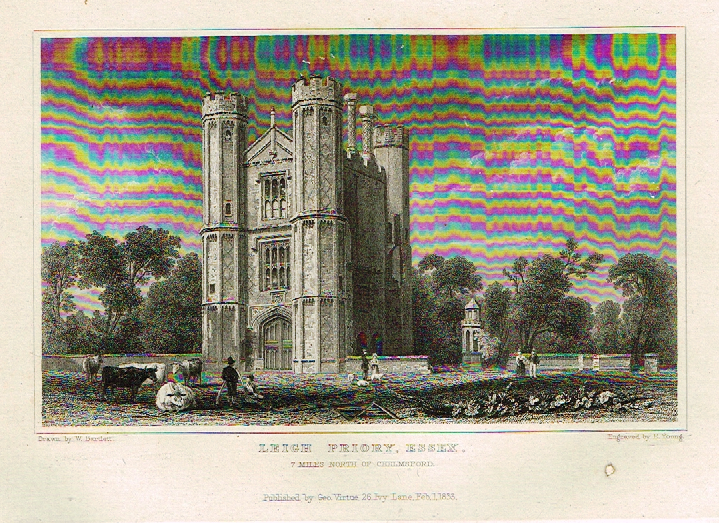 "Bartlett's Britain - ""LEIGH PRIORY, ESSEX"" - Hand-Colored Steel Engraving - 1832"