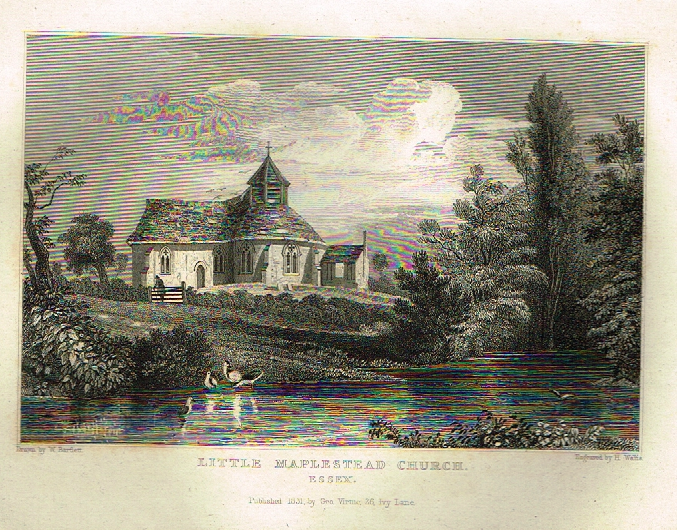 "Bartlett's Britain - ""LITTLE MAPLESTEAD CHURCH, ESSEX"" - Hand-Colored Steel Engraving - 1832"