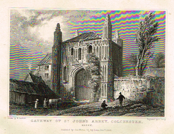 "Bartlett's Britain - ""ST, JOHN'S ABBEY, COLCHESTER, ESSEX"" - Hand-Colored Steel Engraving - 1832"