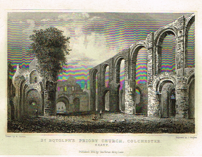 "Bartlett's Britain - ""ST. BOTHELS CHURCH, COLCHESTER, ESSEX"" - Hand-Colored Steel Engraving - 1832"