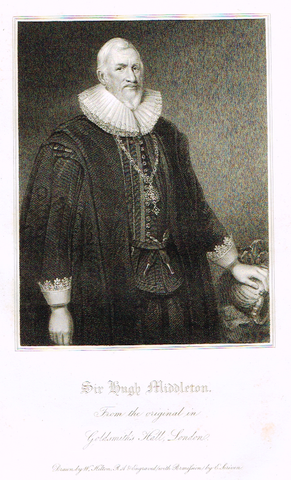 "Lodge's ""SIR HUGH MIDDLETON""  - Portrait Engraving - 1816"