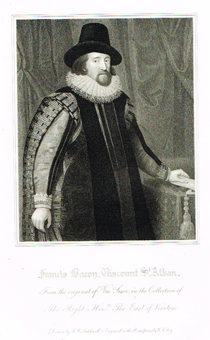"Lodge's ""FRANCIS BACON, VISCOUNT ST. ALBAN""  - Portrait Engraving - 1816"