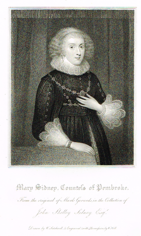 "Lodge's ""MARY SIDNEY, COUNTESS OF PEMBROKE""  - Portrait Engraving - 1816"