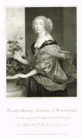 "Lodge's ""DOROTHY SIDNEY, COUNTESS OF SUNDERLAND""  - Portrait Engraving - 1816"