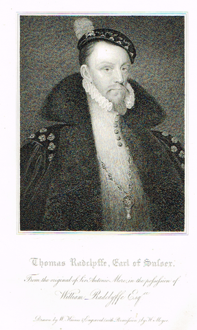 "Lodge's ""THOMAS RADCLYFFE, EARL OF SUSSEX""  - Portrait Engraving - 1816"