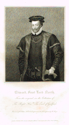 "Lodge's ""EDWARD, FIRST LORD NORTH""  - Portrait Engraving - 1816"