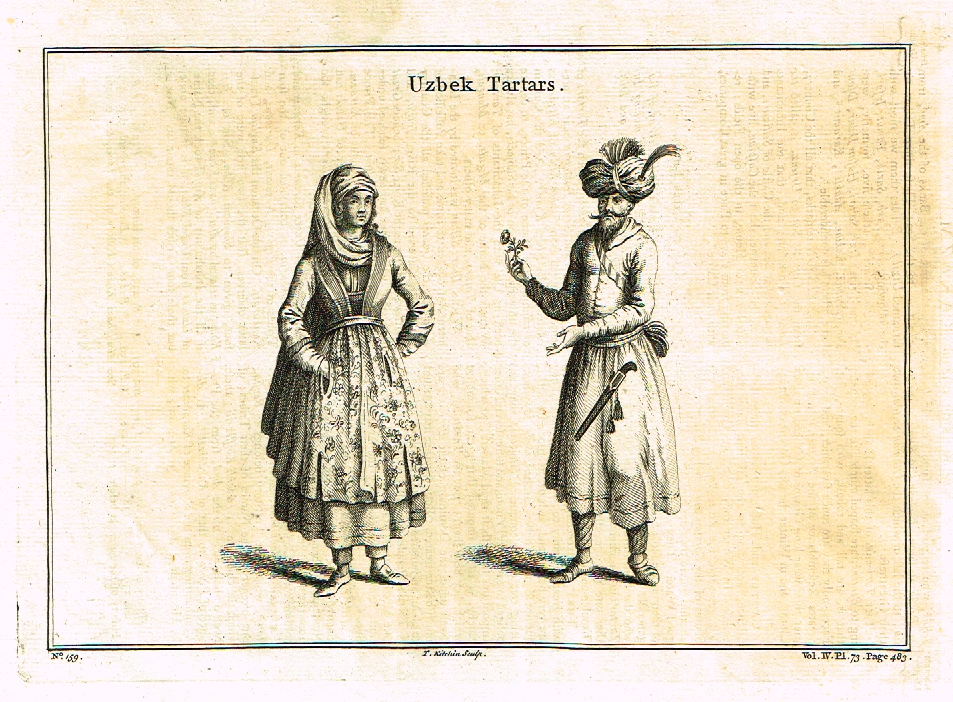 "Kitchin's - ""UZBEK TARTARS""  - Copper Engraving - c1800"