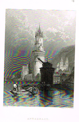"Antique Scene ""ANDERNACH"" by Stanfield - Steel Engraving - 1832"