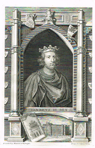 "Rapin's Kings of England - ""HENRY III"" - Copper Engraving - 1732"