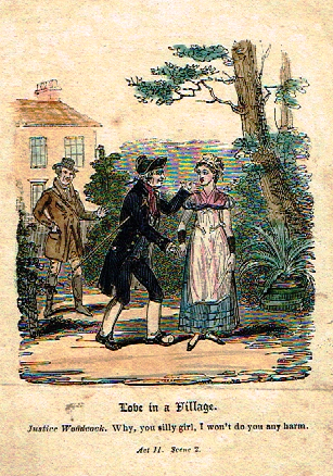 "Miniature Genre - ""LOVE IN A VILLAGE"" - Hand Colored Engraving  - c1800"