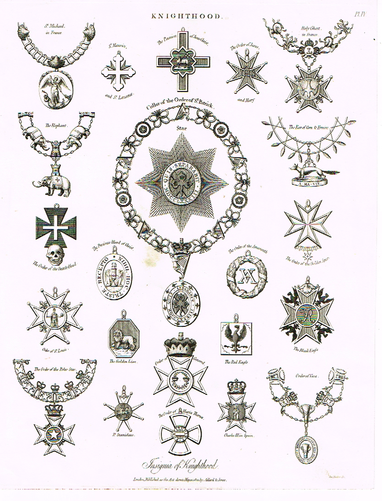 "Knighthood  - ""COLLAR OF THE ORDER OF ST. PATRICK"" - Copper Engraving - 1812"