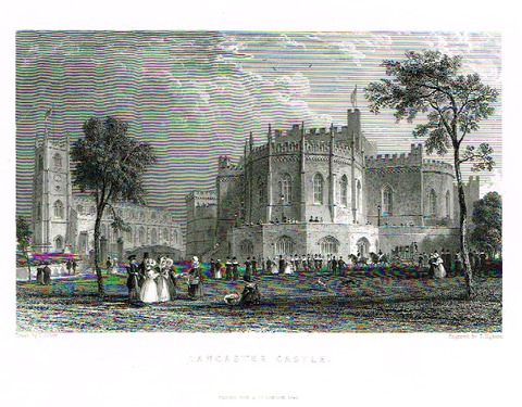"Allom's ""LANCASTER CASTLE"" - Steel Engraving - c1831 - Sandtique-Rare-Prints and Maps"