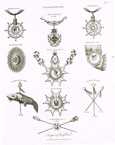 "Knighthood  - ""BADGE OF THE LEGION OF HONOR"" - Copper Engraving - 1812"