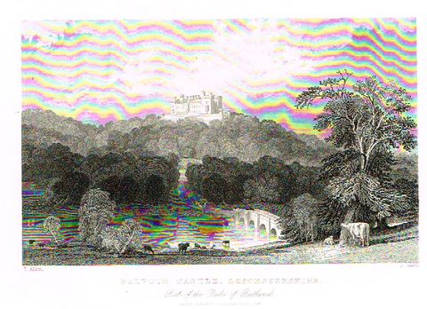 "Allom's ""BELVOIR CASTLE, LEICESTERSHIRE"" - Steel Engraving - c1831 - Sandtique-Rare-Prints and Maps"