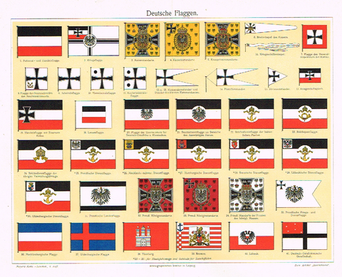 "Meyers's Lexicon - ""GERMAN FLAGS"" - Chromo - 1913"