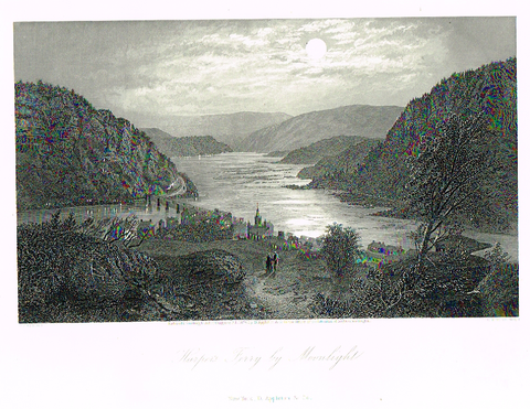 "Picturesque America's ""HARPER'S FERRY BY MOONLIGHT"" - Steel Engraving - 1872"