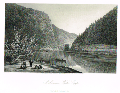 "Picturesque America's ""DELAWARE WATER GAP"" - Steel Engraving - 1872"