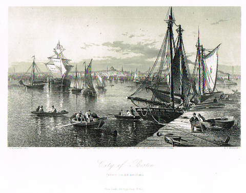 "Picturesque America's ""CITY OF BOSTON"" - Steel Engraving - 1872"