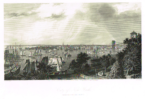 "Picturesque America's ""CITY OF NEW YORK"" - Steel Engraving - 1872"