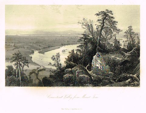 "Picturesque America's ""CONNECTICUT VALLEY FROM MOUNT TOM"" - Steel Engraving - 1872"