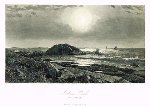 "Picturesque America's ""INDIAN ROCK, NARRAGANSETT"" - Steel Engraving - 1872"