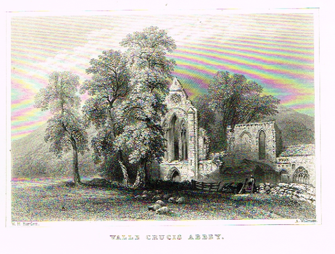 By Bartlett, VALLE CRUCIS ABBEY , Steel Engraving, circa 1840