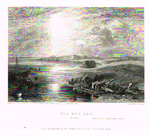 By Bartlett, THE RED SEA AT SUEZ , Steel Engraving, circa 1840
