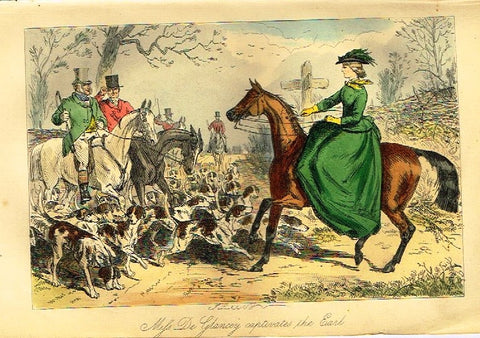 "Antique John Leech Satire Print - ""MISS DE GLANCY CAPTIVATES"" - H. Col Litho - 1872"