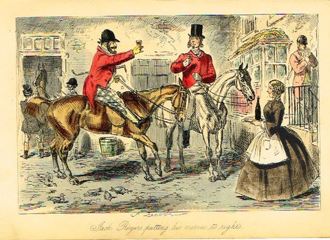 "Antique John Leech Satire Print - ""JACK ROGERS PUTTING HIS NERVES"" - H. Col Litho - 1872"