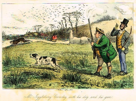 "Antique John Leech Satire Print - ""MR. JOGGLEBURY CROWDY WITH DOG"" - H. Col Litho - 1872"