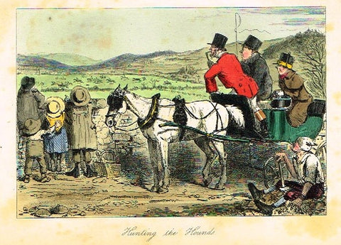 "Antique John Leech Satire Print - ""HUNTING THE HOUNDS"" - H. Col Litho - 1872"
