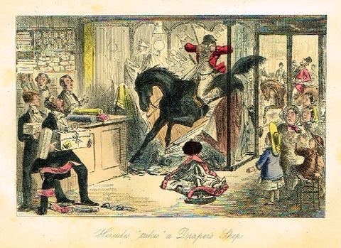 "Antique John Leech Satire Print - ""HERCULES TAKES A DRAPER'S SHOP"" - H. Col Litho - 1872"