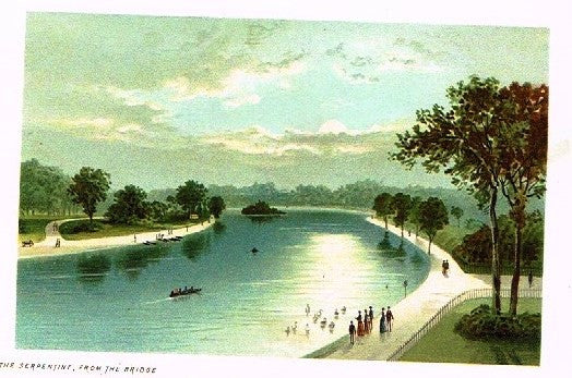 "Nelson's ""THE SERPENTINE, FROM THE BRIDGE"" - Miniature Chromolithograph - 1889"