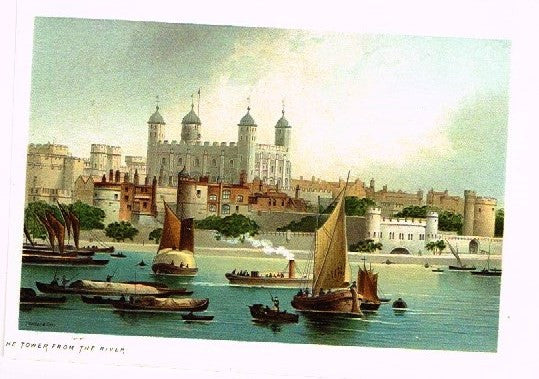 "Nelson's ""THE TOWER FROM THE RIVER"" - Miniature Chromolithograph - 1889"