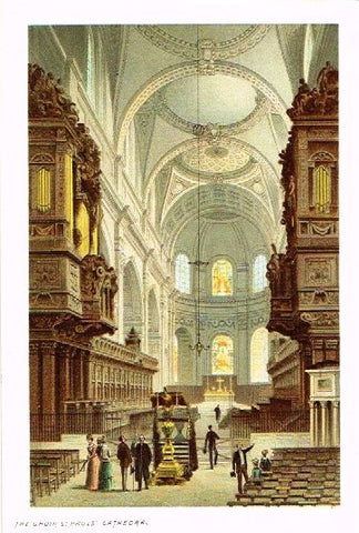 "Nelson's ""THE CHOIR, ST. PAUL'S CATHEDRAL"" - Miniature Chromolithograph - 1889"