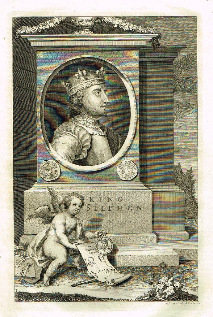 "Rapin's History of England - ""KING STEPHEN"" - Copper Engraving - 1745"