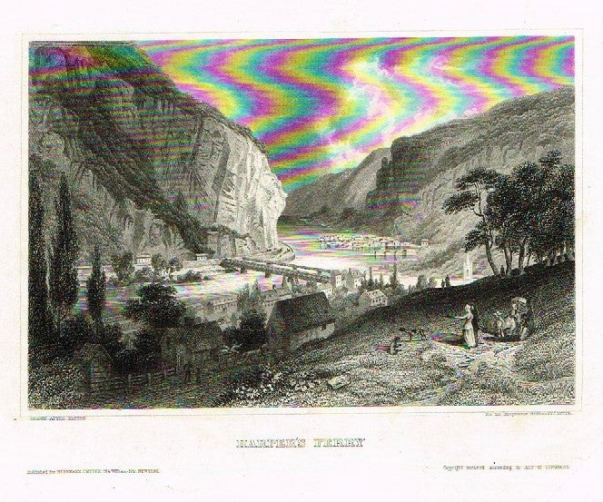 "Herrmann Meyer Steel Engraving - ""HARPER'S FERRY"" - c1850"