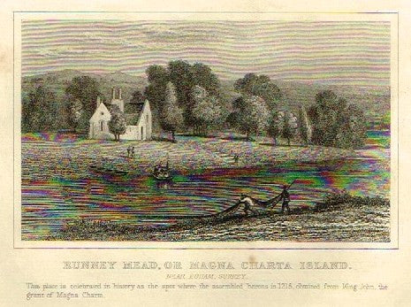 "Dugdale's Engand & Wales Delineated - ""RUNNEY MEAD or MAGNA CARTA ISLAND"" - Steel Engraving -c1840"