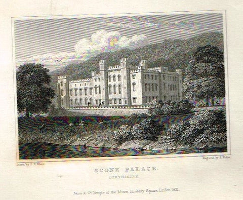 "Dugdale's Engand & Wales Delineated - ""SCONE PALACE"" - Steel Engraving -c1840"