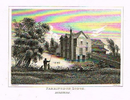 "Dugdale's Engand & Wales Delineated - ""FARRINGTON LODGE"" - Steel Engraving -c1840"