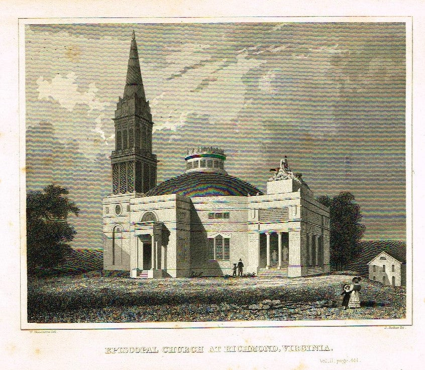 "Goodacre's - ""EPISCOPAL CHURCH AT RICHMOND, VIRGINIA"" - Steel Engraving - c1840"