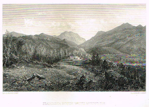 "Art Journal  1875 Steel Engraving ""FRANCONIA NOTCH WHITE MOUNTAINS"" by Brown"