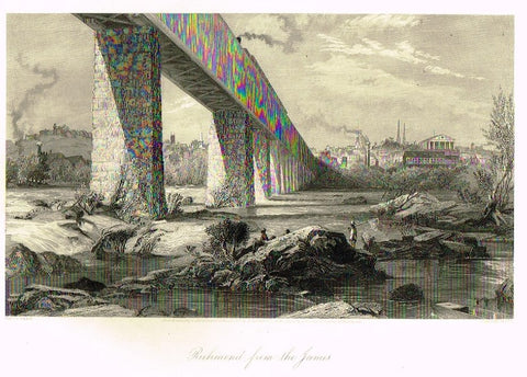 "Art Journal  1875 Steel Engraving ""RICHMOND FROM THE JAMES"" by Penn"