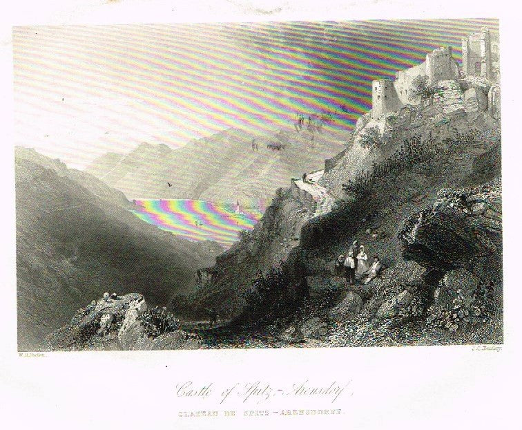 "Bartlett's  - ""CASTLE OF SPITZ-ARENSDORF"" - Steel Engraving - 1838"
