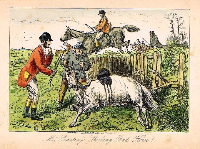 "Antique John Leech Print - ""MR. BUNTING'S SHOCKING BAD HORSE"" - H. Col Litho - 1872"