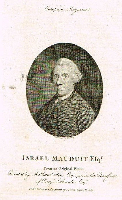 "European Magazine - ""ISRAEL MAUDUIT, ESQ."" - Copper Engraving - 1786"