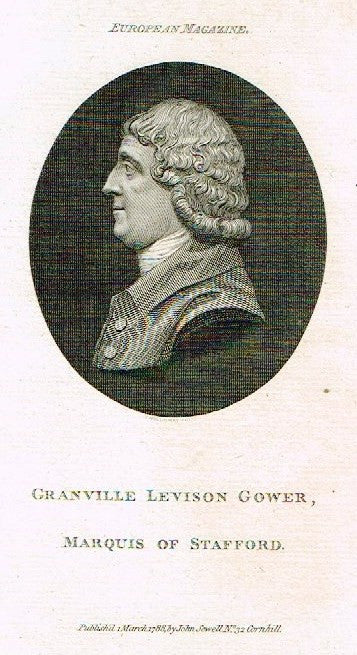 "European Magazine - ""GRANVILLE LEVISON GOWER"" - Copper Engraving - 1788"