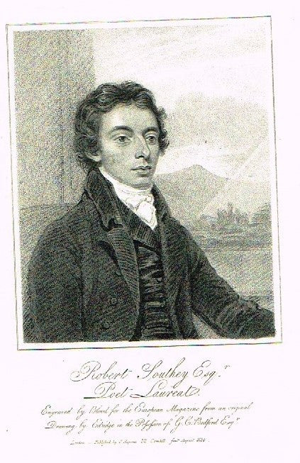 "European Magazine - ""ROBERT SOUTHEY"" - Copper Engraving - 1814"