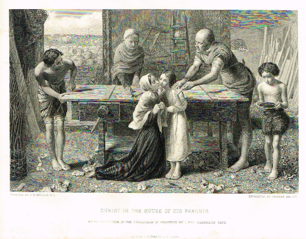 Antique Print - Art Journal's - CHRIST IN THE HOUSE OF HIS PARENTS - Engraved by Bradshaw - 1871
